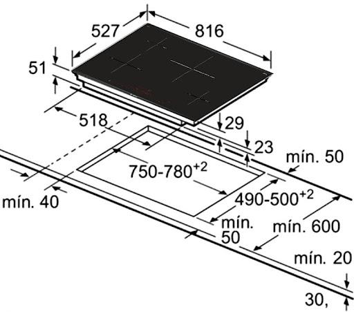 Bếp từ Bosch PIE875DC1E yêu cầu kích thước mặt đá