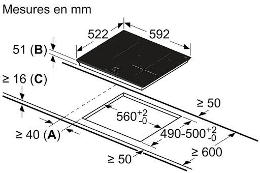 Bosch PUJ631BB2E yêu cầu kích thước tối thiểu của bàn đá