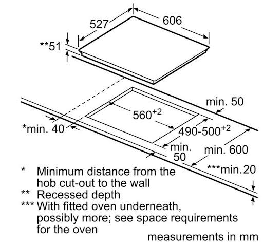 Bosch PXX675DC1E yêu cầu kích thước bàn đá tối thiểu