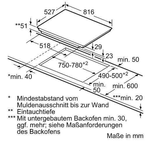 Bosch PXY875DC1E yêu cầu kích thước bàn đá tối thiểu