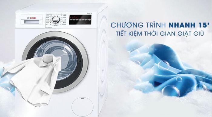 Chế độ giặt nhanh 15 phút tiện lợi của Máy giặt cửa trước Bosch WAT24480SG