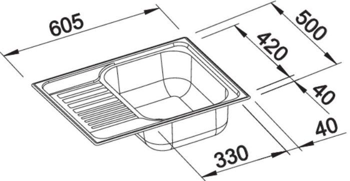 Thông số kỹ thuật của Chậu rửa bát Blanco Tipo 45 S Compact