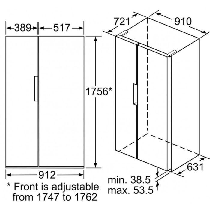 Thông số kỹ thuật Tủ lạnh Bosch 2 cánh Side by Side KAN92VI35O