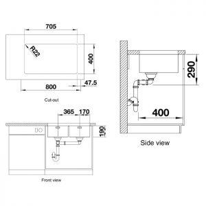 Thông số kỹ thuật Chậu rửa Blanco andano 340/340-IF