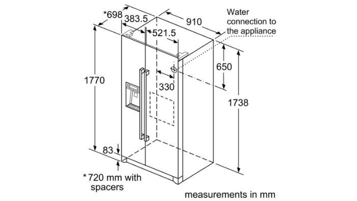 Thông số kỹ thuật của Tủ lạnh Bosch 2 cánh Side By Side KAG90AI20G