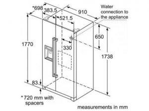 Thông số kỹ thuật của Tủ lạnh 2 cánh Side By Side model KAI90VI20G