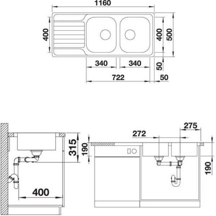 Thông số kỹ thuật của Chậu rửa bát inox Blanco DINAS 8S