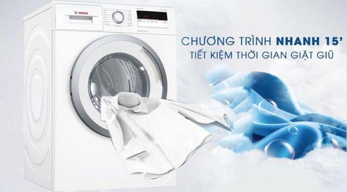 Chế độ giặt nhanh 15 phút siêu tiện lợi với Máy giặt cửa trước Bosch WAT286H8SG