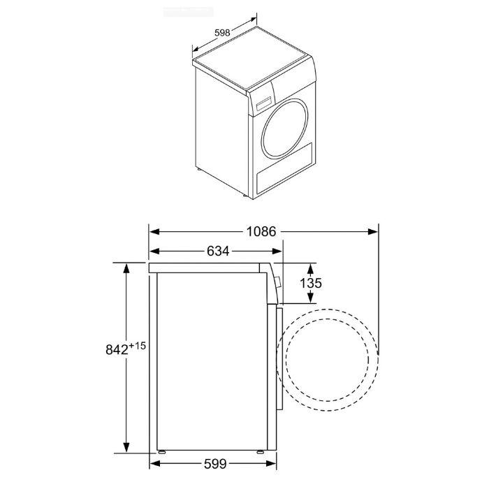 Thông số kỹ thuật của máysấy tụ hơi và bơm nhiệt WTR85V00SG